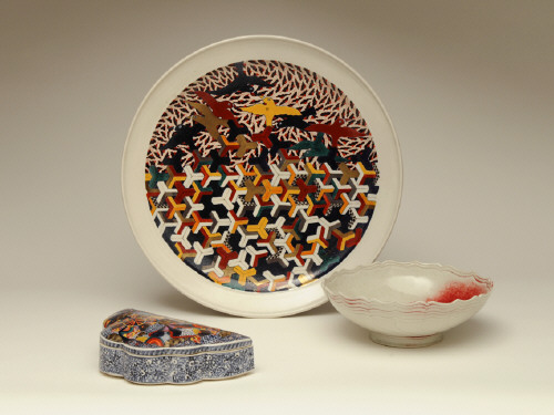 Artist: Ralph Bacerra, Title: Clockwise from top: Untitled Platter, Untitled Bowl, Untitled Lidded Box - click for larger image